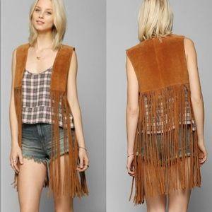 Urban outfitters Boho Fringe Genuine Leather Vest
